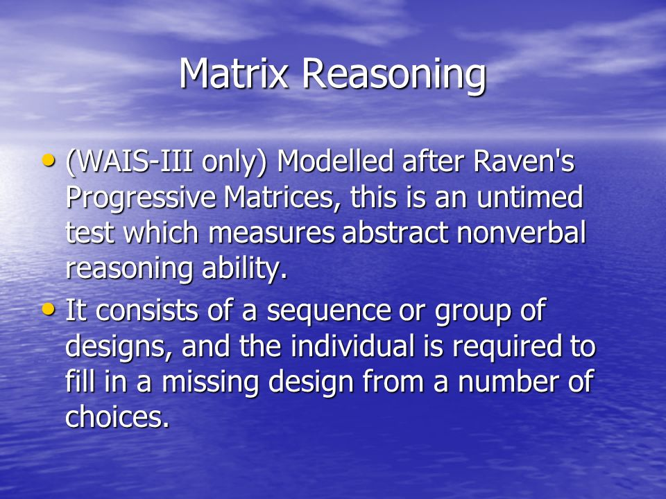 Matrix Reasoning