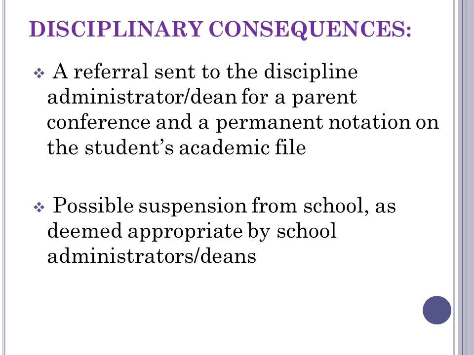 DISCIPLINARY CONSEQUENCES: