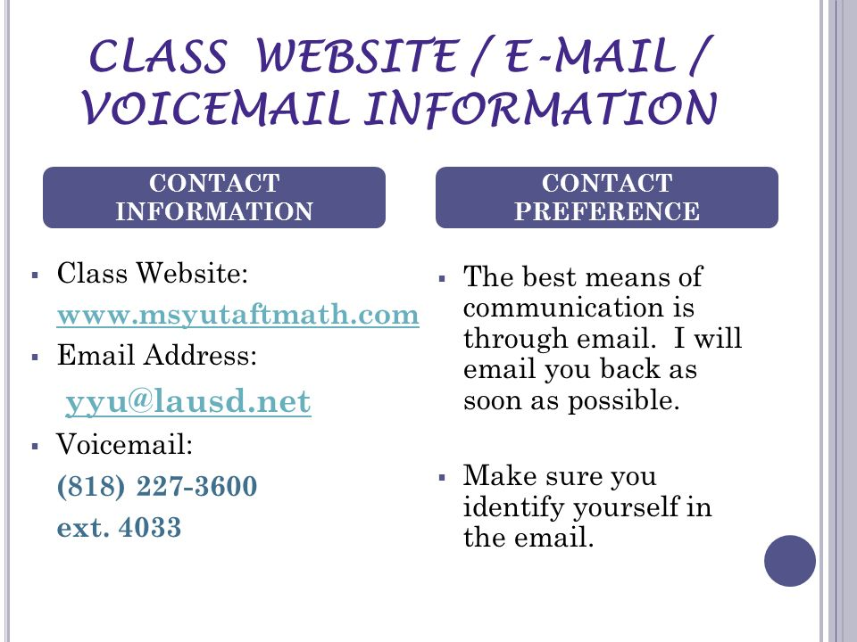CLASS WEBSITE / E-MAIL / VOICEMAIL INFORMATION