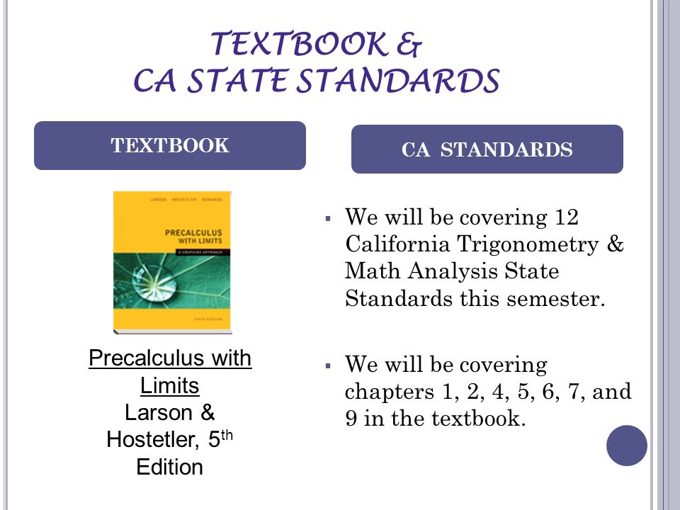 TEXTBOOK & CA STATE STANDARDS