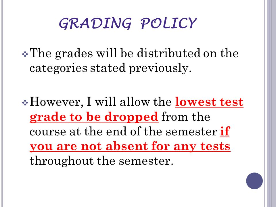 GRADING POLICY The grades will be distributed on the categories stated previously.