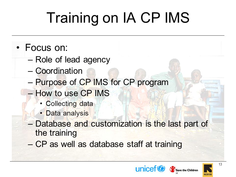 Training on IA CP IMS Focus on: Role of lead agency Coordination