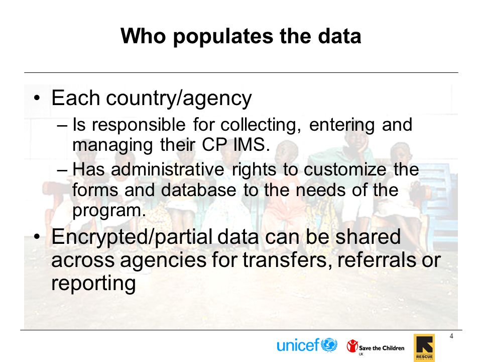 Who populates the data Each country/agency