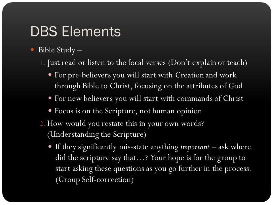 DBS Elements Bible Study –
