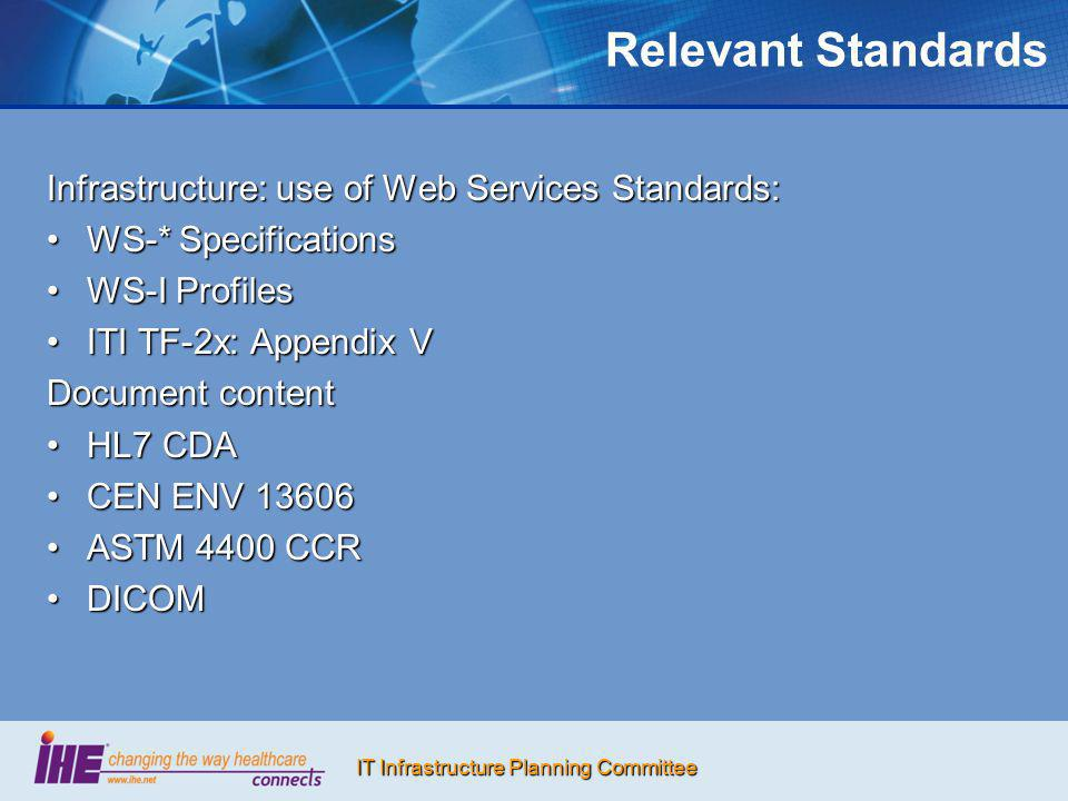 Relevant Standards Infrastructure: use of Web Services Standards: