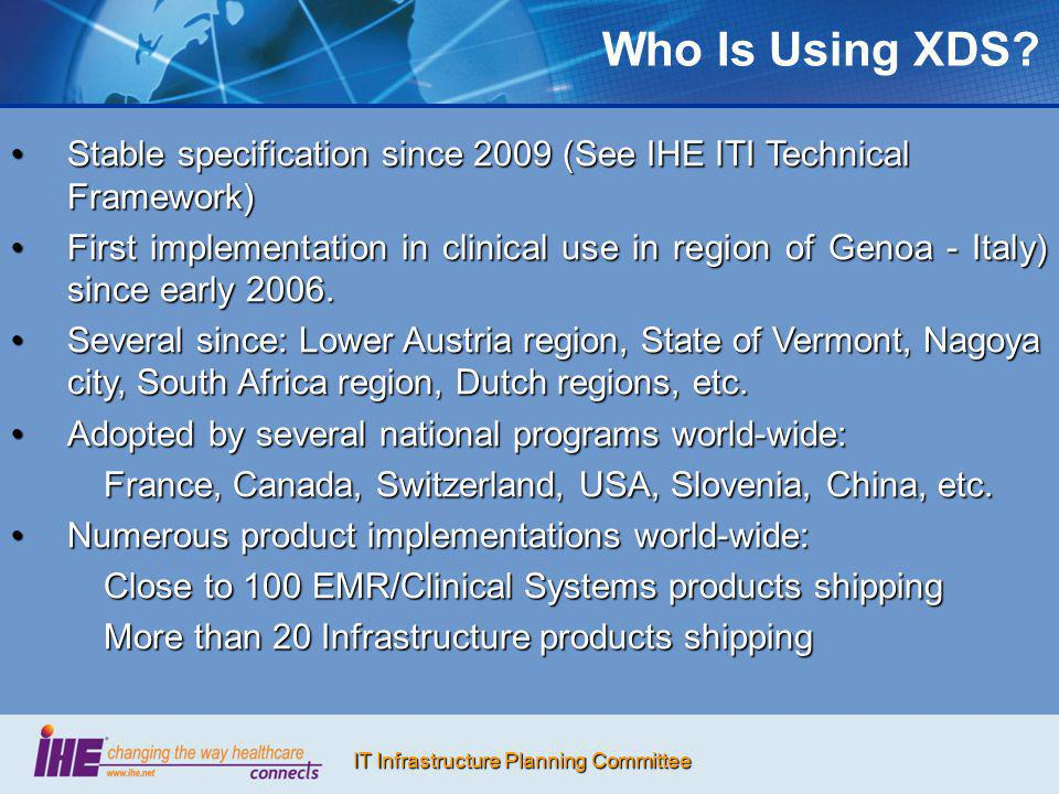 Who Is Using XDS Stable specification since 2009 (See IHE ITI Technical Framework)