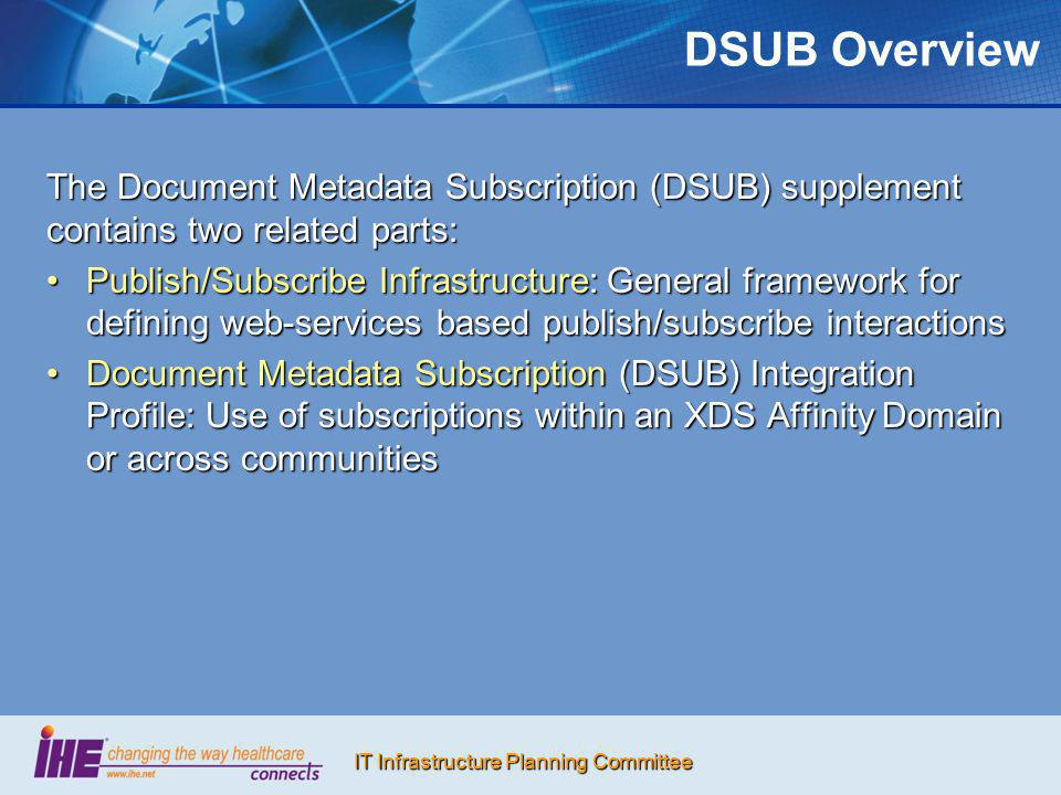 DSUB Overview The Document Metadata Subscription (DSUB) supplement contains two related parts: