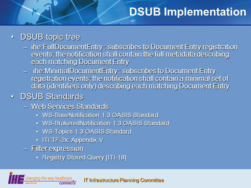 DSUB Implementation DSUB topic tree DSUB Standards