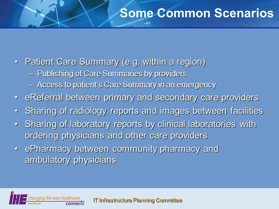 Some Common Scenarios Patient Care Summary (e.g. within a region)