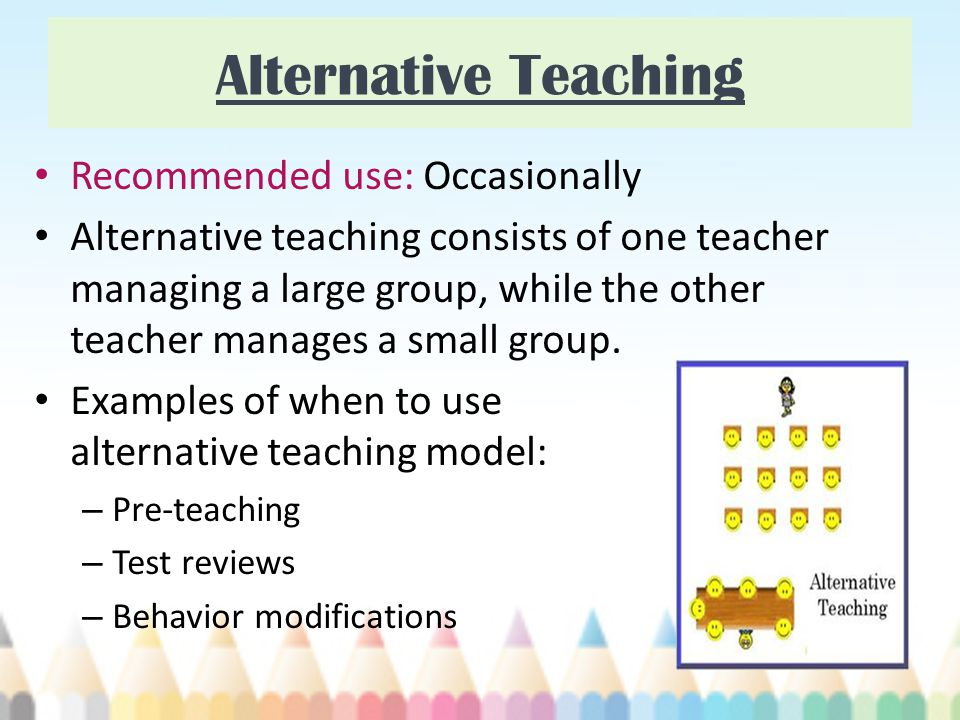 Alternative Teaching Recommended use: Occasionally