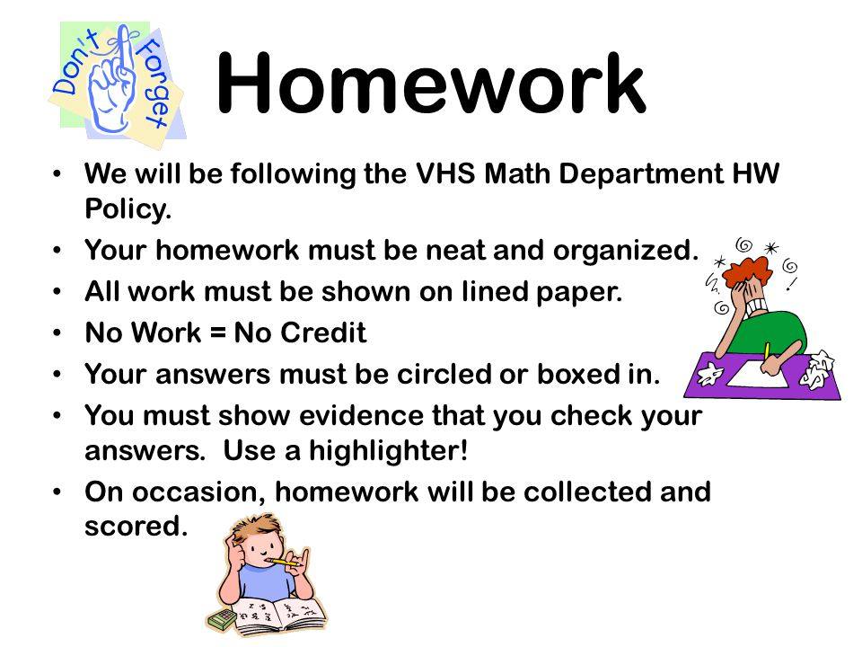 Homework We will be following the VHS Math Department HW Policy.