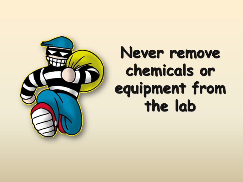 Never remove chemicals or equipment from the lab