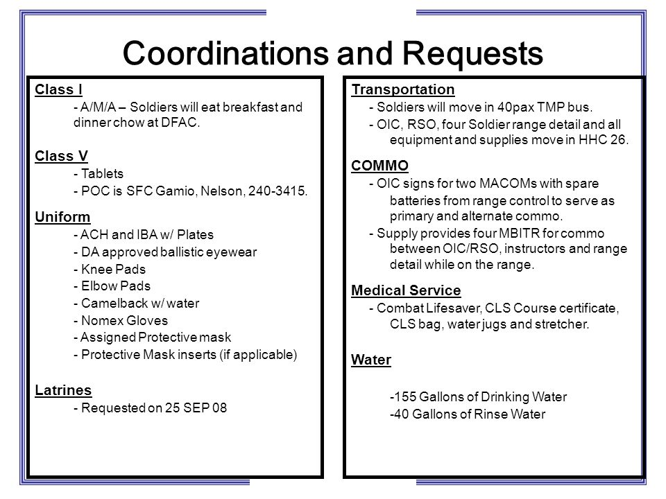 Coordinations and Requests