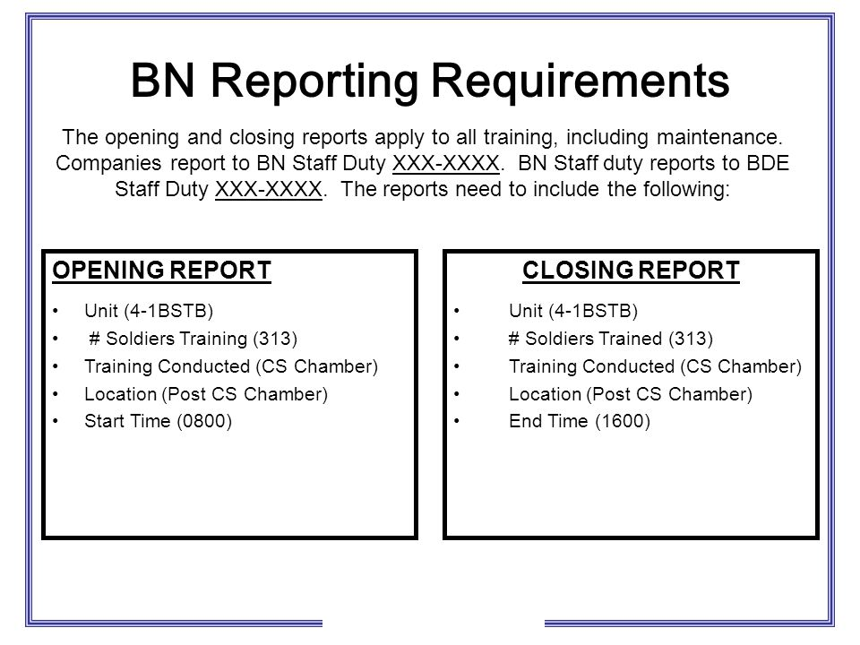 BN Reporting Requirements