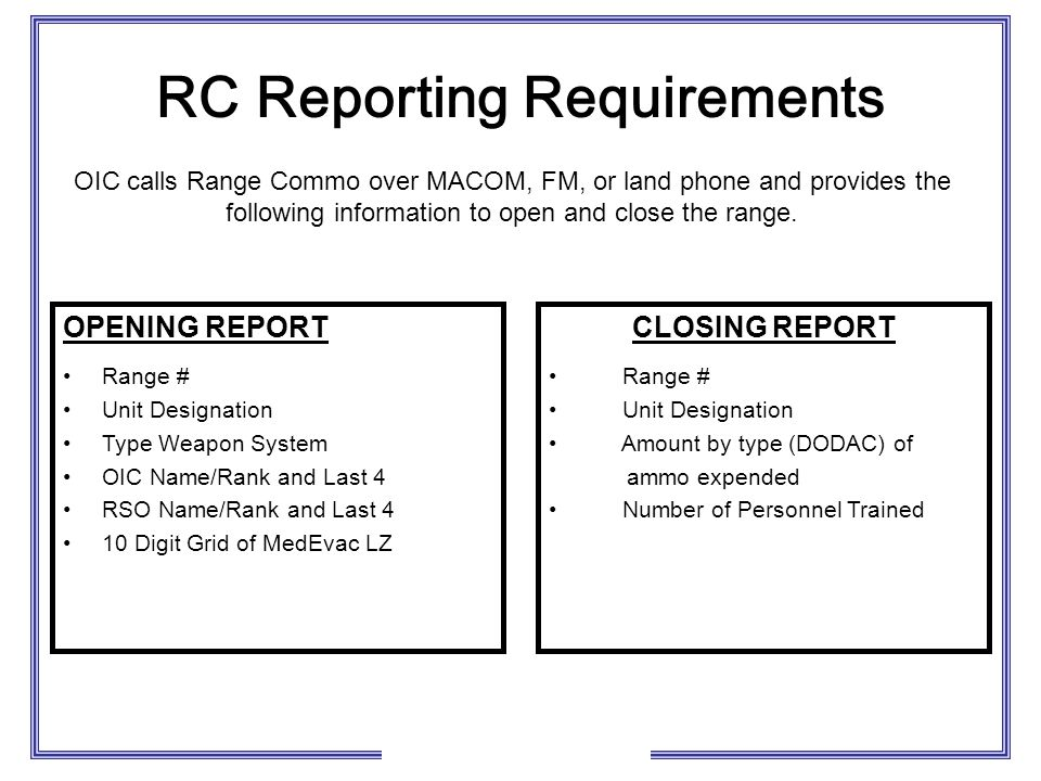 RC Reporting Requirements