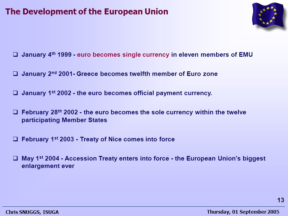 January 4th 1999 - euro becomes single currency in eleven members of EMU