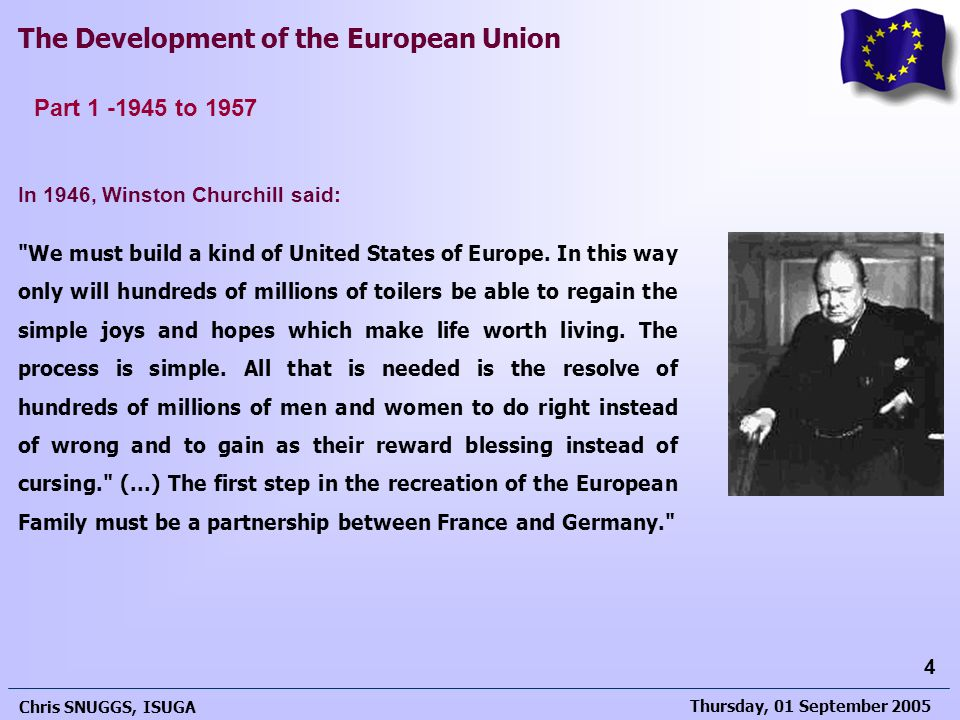 Part 1 -1945 to 1957 In 1946, Winston Churchill said: