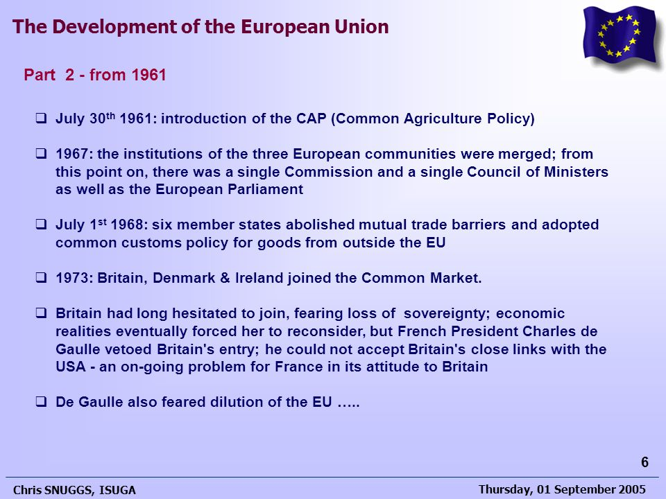 Part 2 - from 1961 July 30th 1961: introduction of the CAP (Common Agriculture Policy)