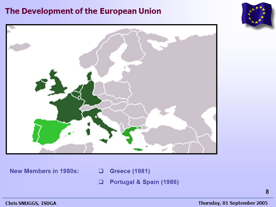 New Members in 1980s: Greece (1981) Portugal & Spain (1986)