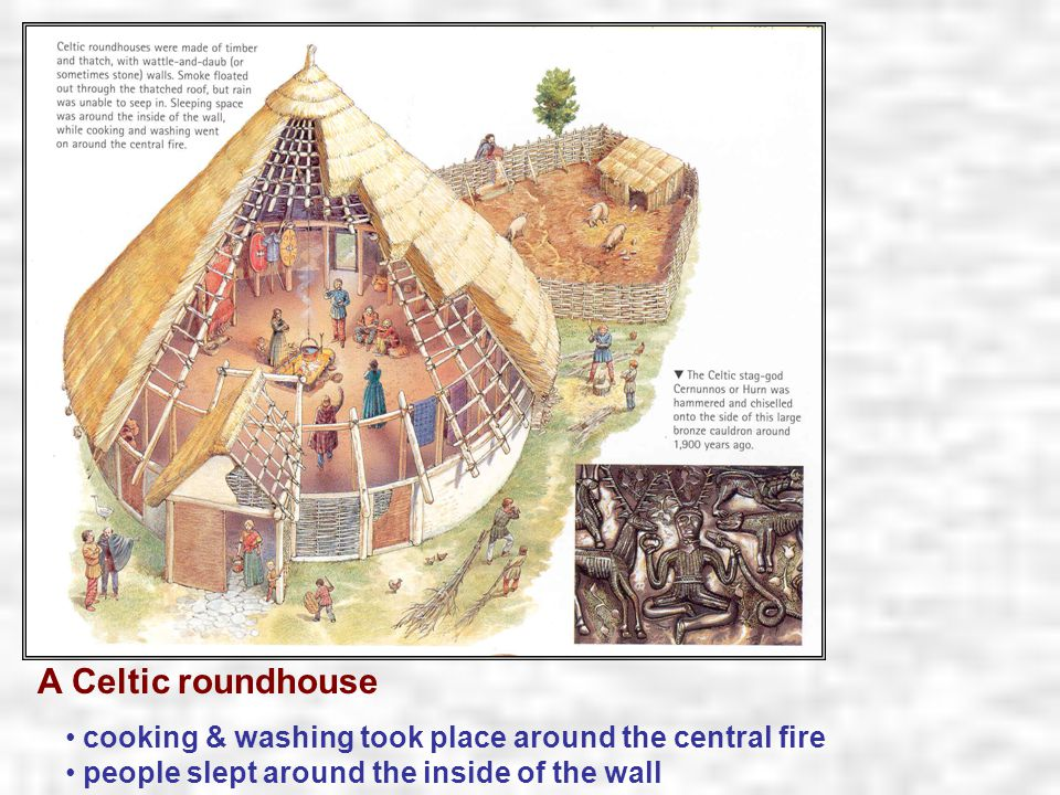 A Celtic roundhouse cooking & washing took place around the central fire.