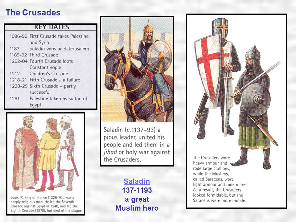 The Crusades Saladin 137-1193 a great Muslim hero