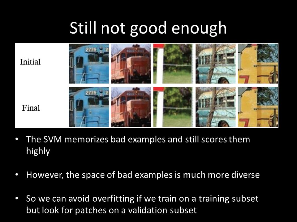 Still not good enough The SVM memorizes bad examples and still scores them highly. However, the space of bad examples is much more diverse.