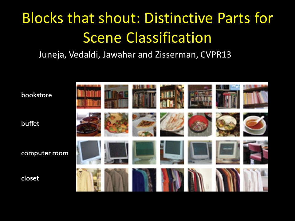 Blocks that shout: Distinctive Parts for Scene Classification