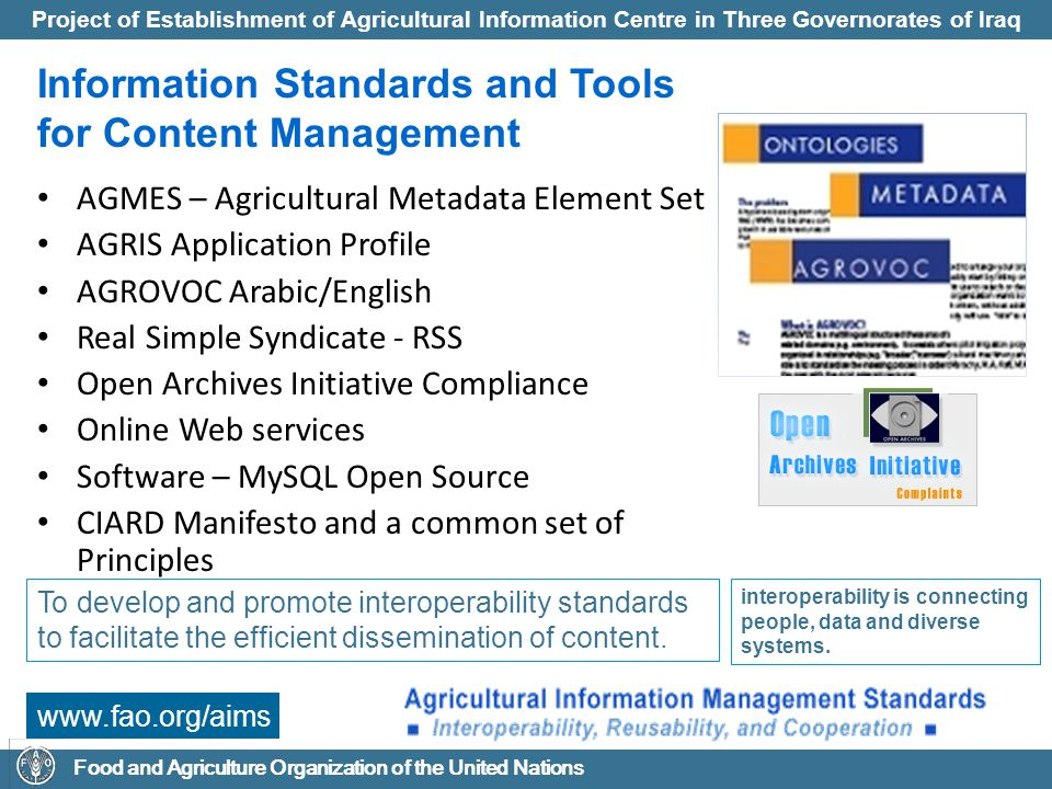 Information Standards and Tools for Content Management