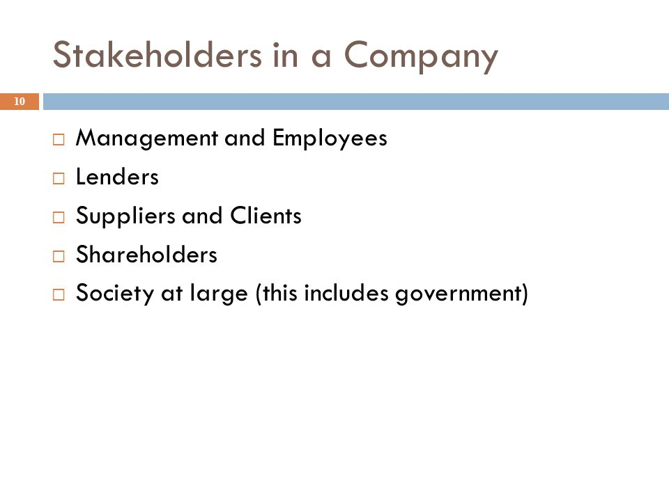 Stakeholders in a Company