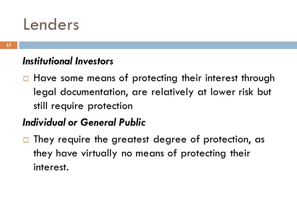 Lenders Institutional Investors