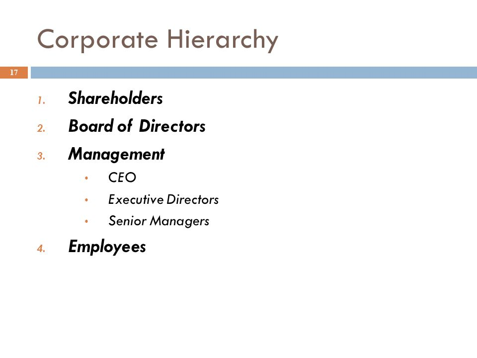 Corporate Hierarchy Shareholders Board of Directors Management