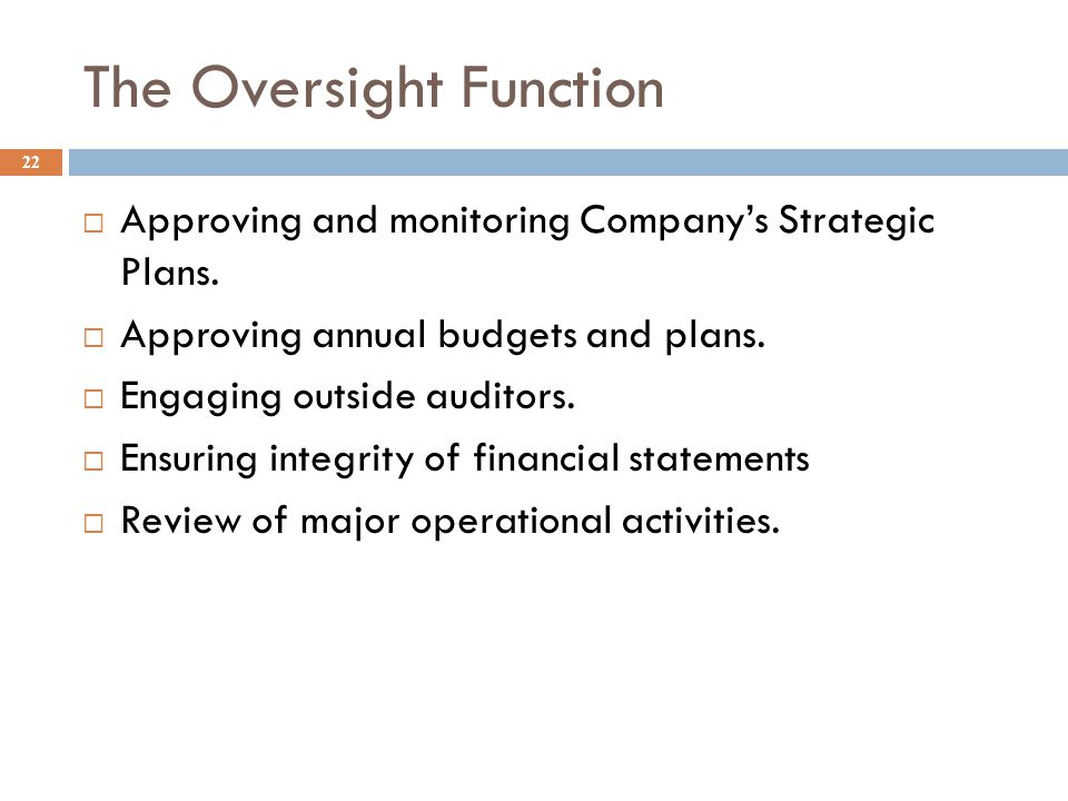 The Oversight Function