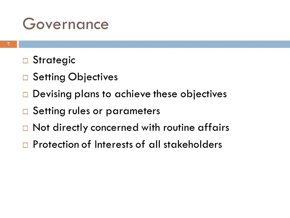 Governance Strategic Setting Objectives
