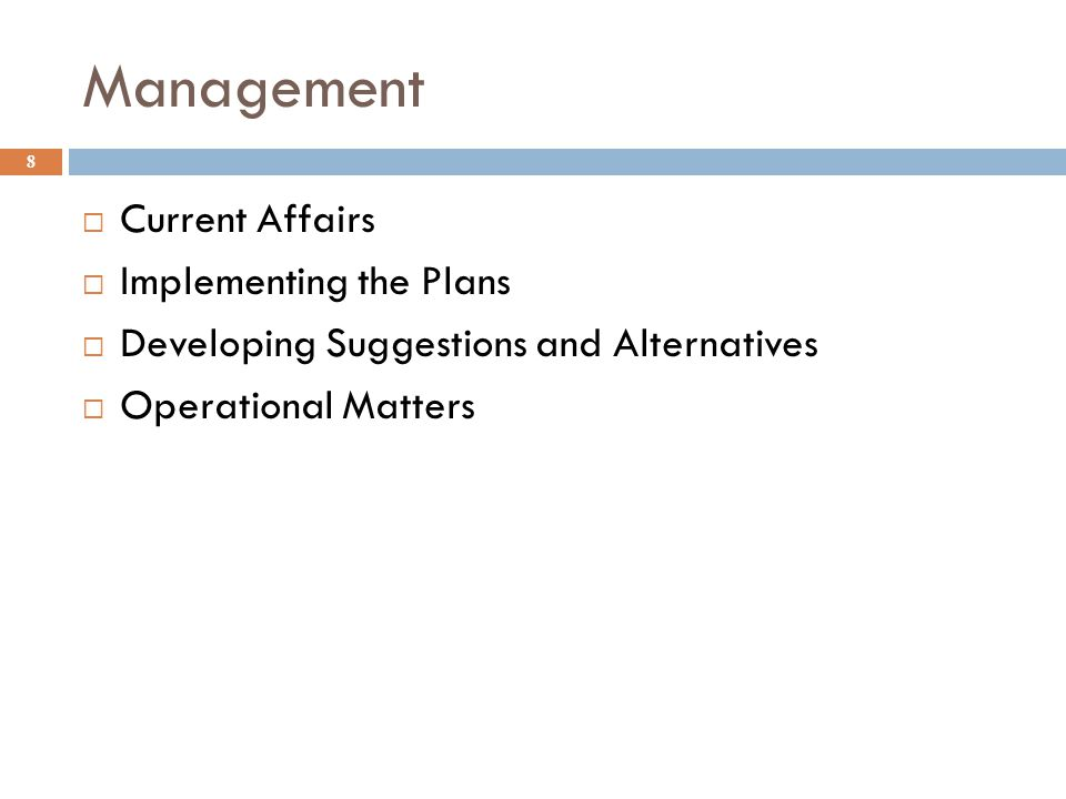Management Current Affairs Implementing the Plans