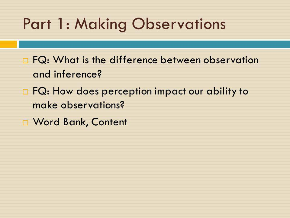 Part 1: Making Observations