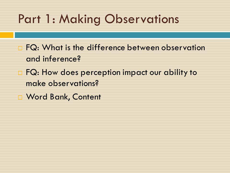 Part 1: Making Observations