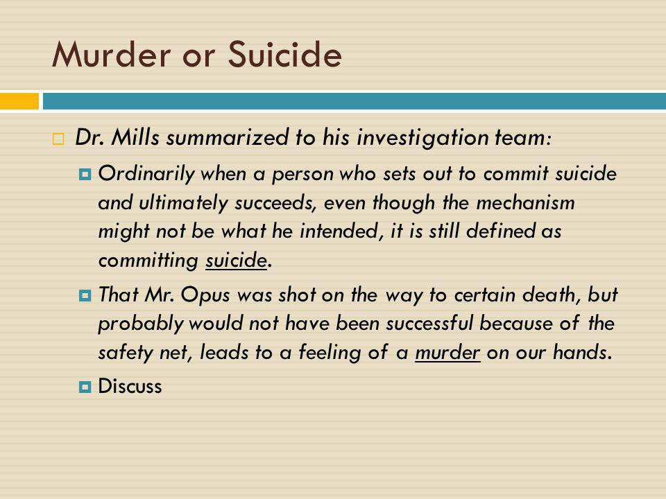 Murder or Suicide Dr. Mills summarized to his investigation team: