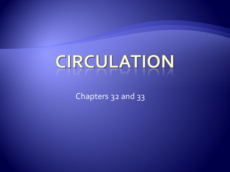 Circulation Chapters 32 and 33