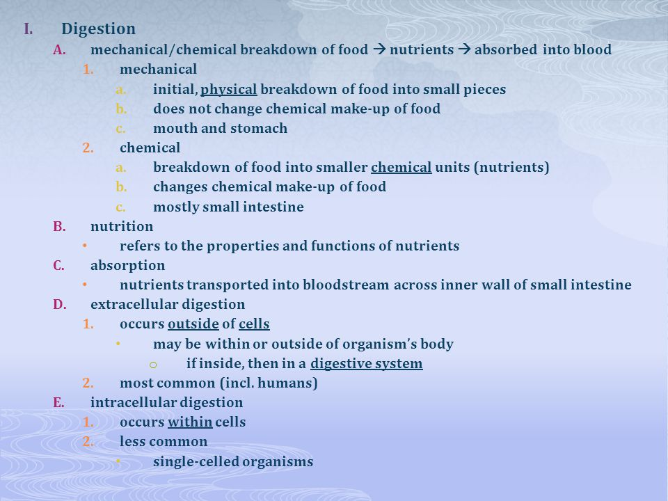 Digestion mechanical/chemical breakdown of food  nutrients  absorbed into blood. mechanical.