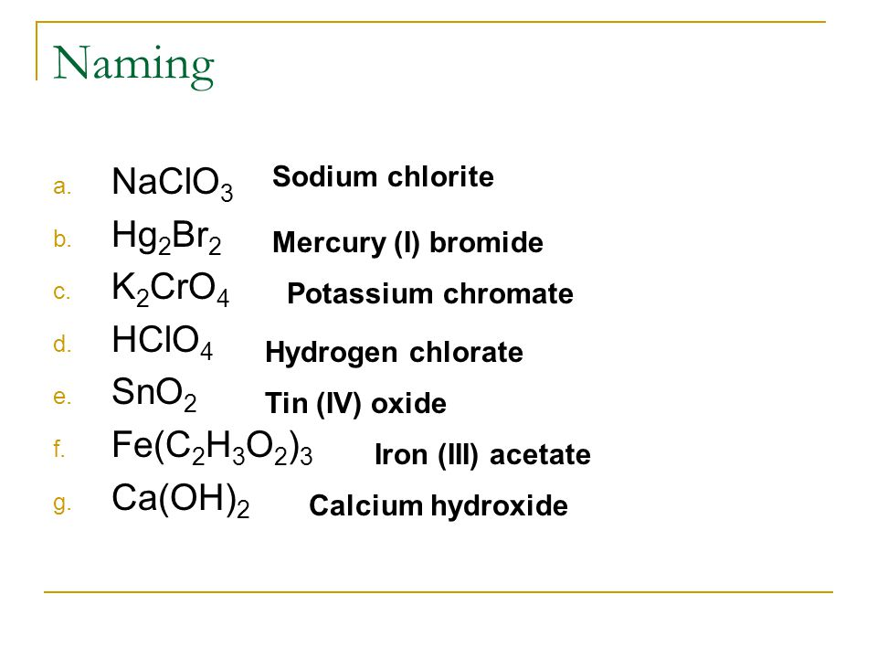 Naming NaClO3 Hg2Br2 K2CrO4 HClO4 SnO2 Fe(C2H3O2)3 Ca(OH)2