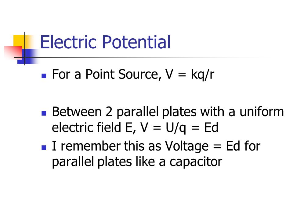 Electric Potential For a Point Source, V = kq/r