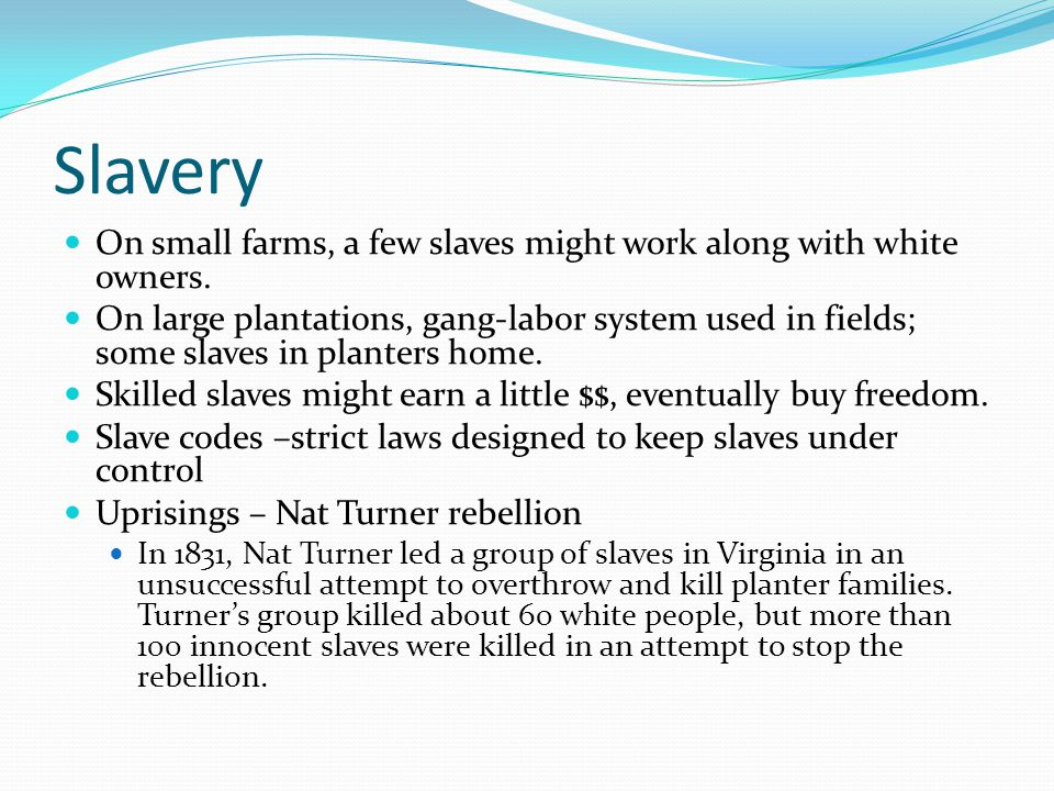 Slavery On small farms, a few slaves might work along with white owners.