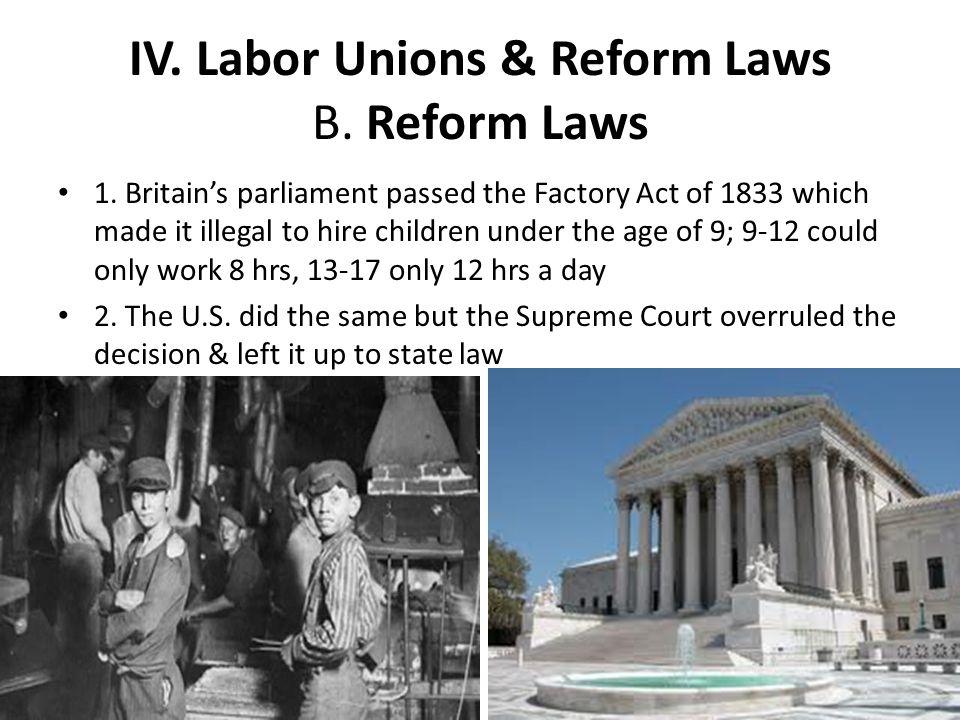 IV. Labor Unions & Reform Laws B. Reform Laws