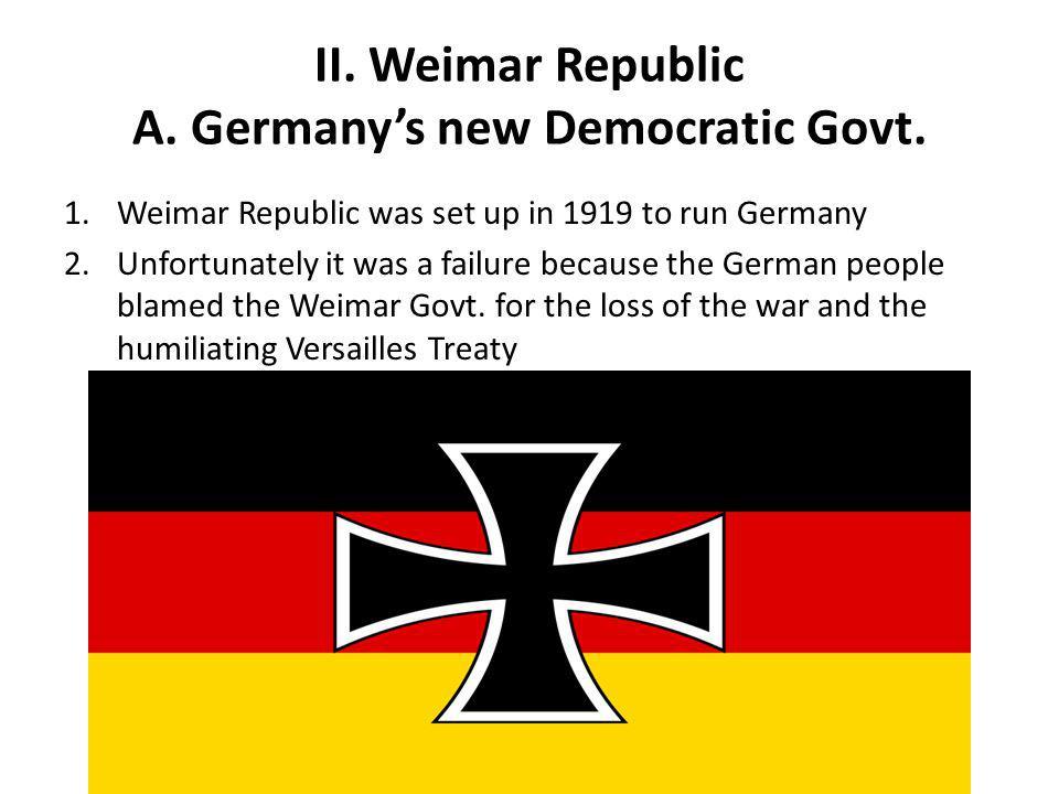 II. Weimar Republic A. Germany's new Democratic Govt.