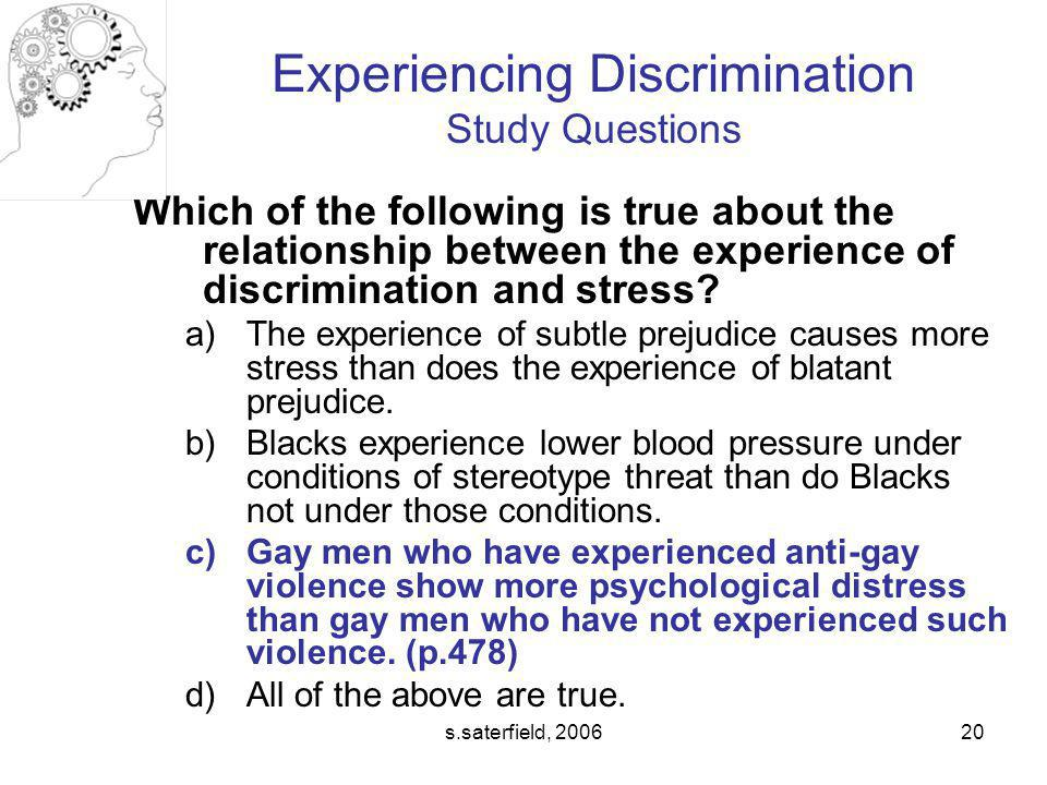 Experiencing Discrimination Study Questions