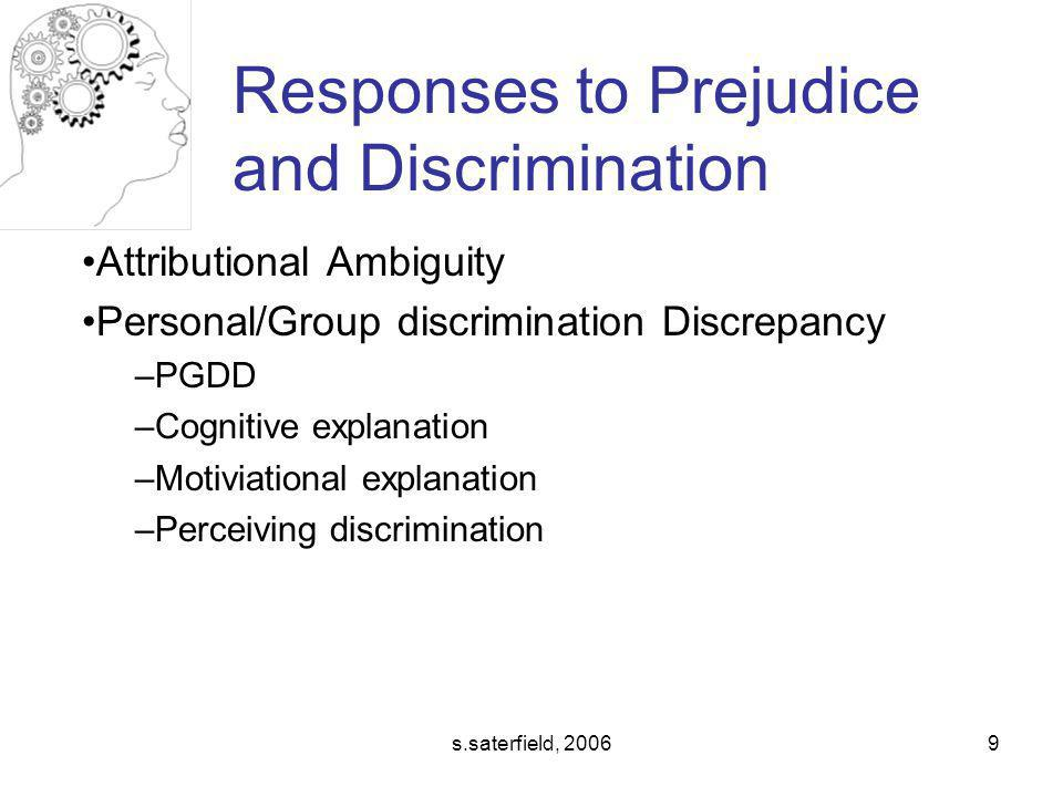 Responses to Prejudice and Discrimination