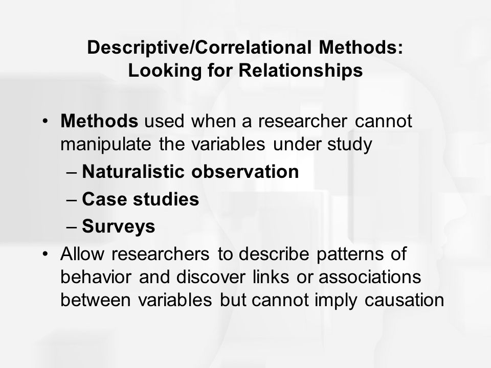 Descriptive/Correlational Methods: Looking for Relationships