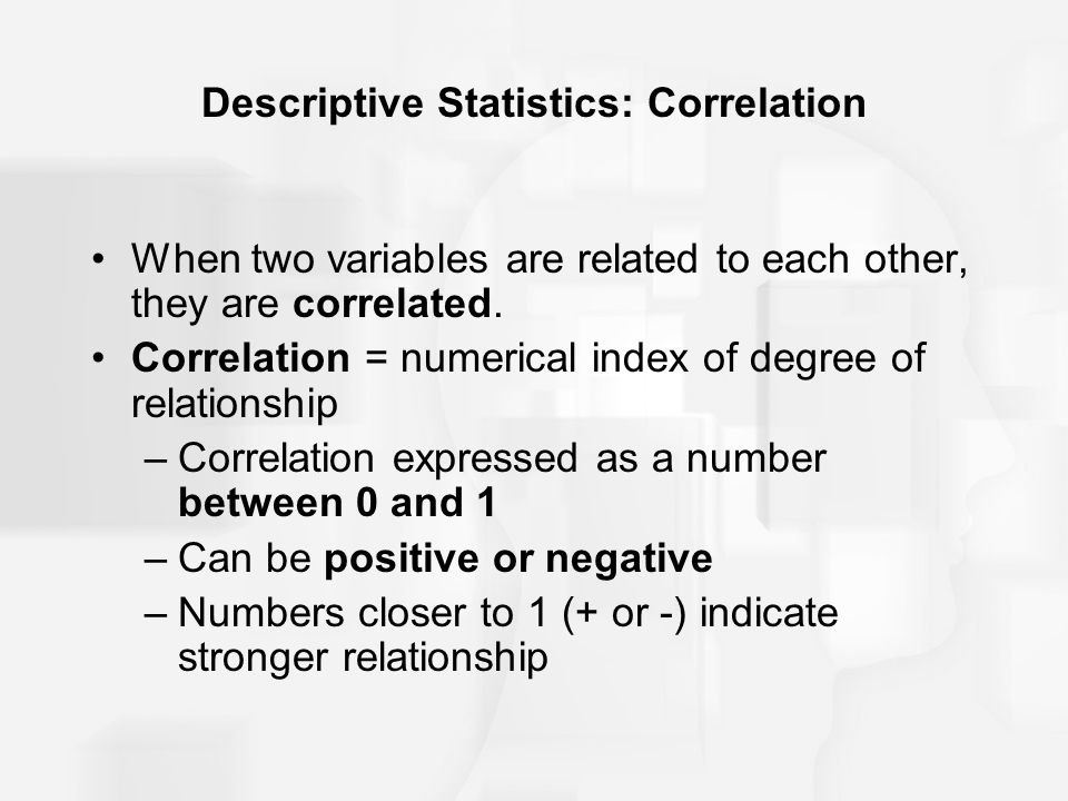 Descriptive Statistics: Correlation