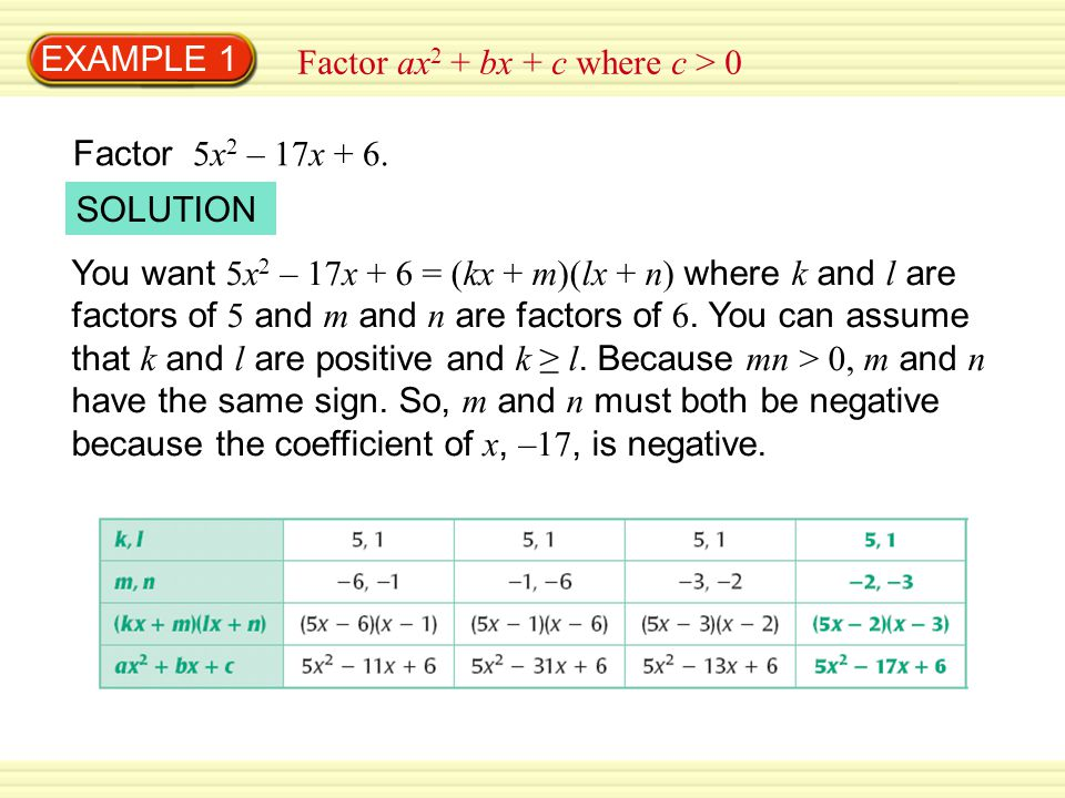 EXAMPLE 1 Factor ax2 + bx + c where c > 0. Factor 5x2 – 17x + 6. SOLUTION.