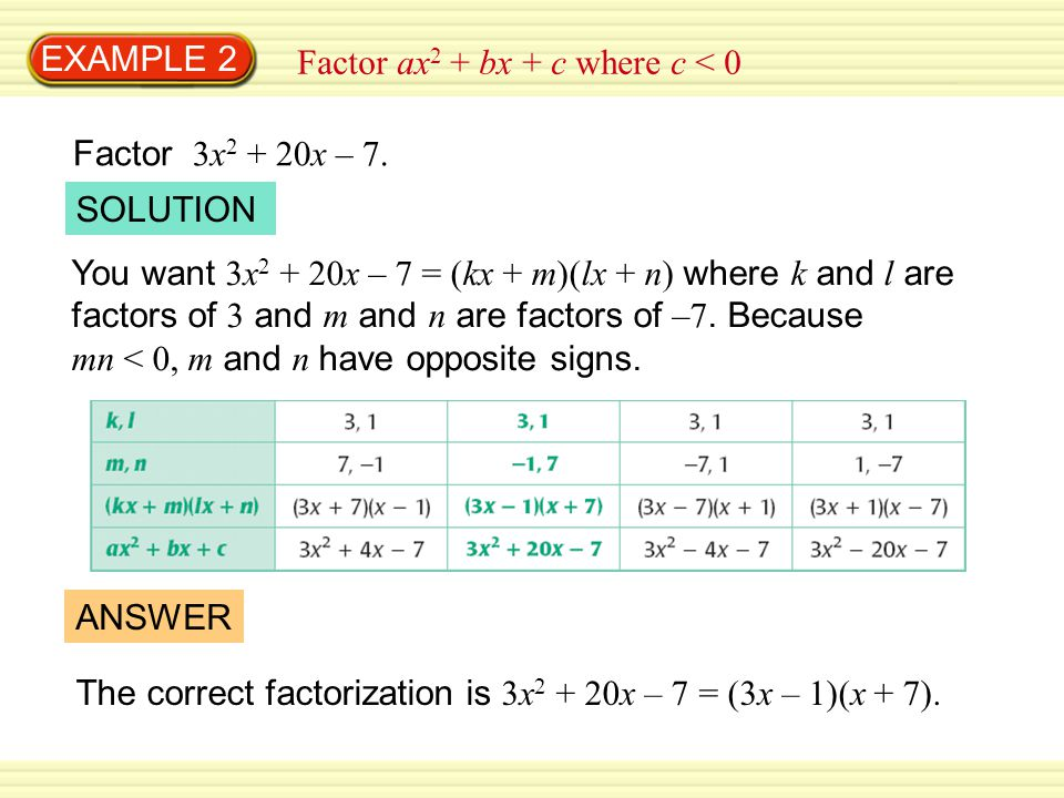 EXAMPLE 2 Factor ax2 + bx + c where c < 0. Factor 3x2 + 20x – 7. SOLUTION.